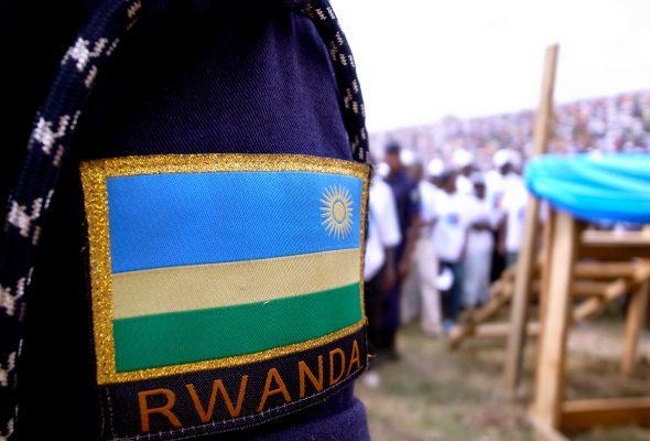 Rwanda police badge at RPF rally in Gicumbi, Rwanda. Photo: Kigali Wire
