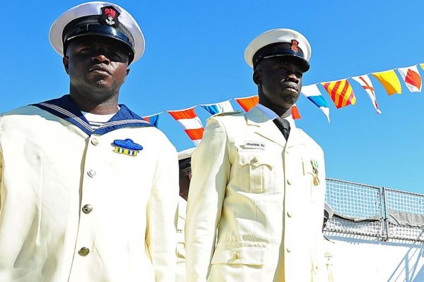 Members of the Nigerian Navy stand in formation