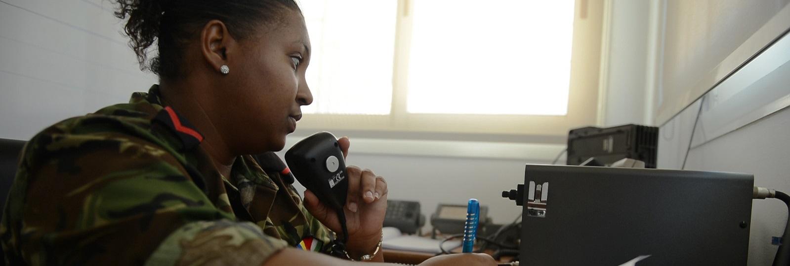 Lance Cpl. Hilary M. Leon, Seychelles Coast Guard radio operator