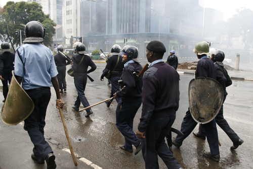 Police charge at protesters along the streets of Nairobi. Photo DEMOSH