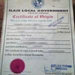 A Nigerian certificate of origin