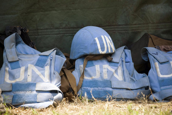 Helmet and Flack Jackets of MONUC Peacekeepers . UN Photo/Marie Frechon.