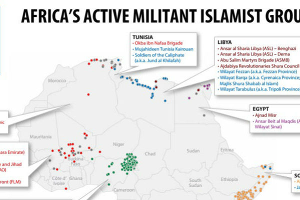 Map of Africa's Active Militant Islamist Groups