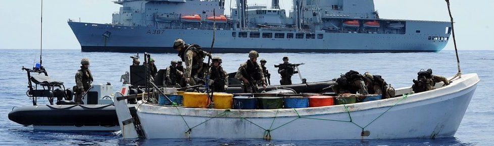 Personnel from RFA Fort Victoria Board a Boat Suspected of Use by Pirates Near Somalia