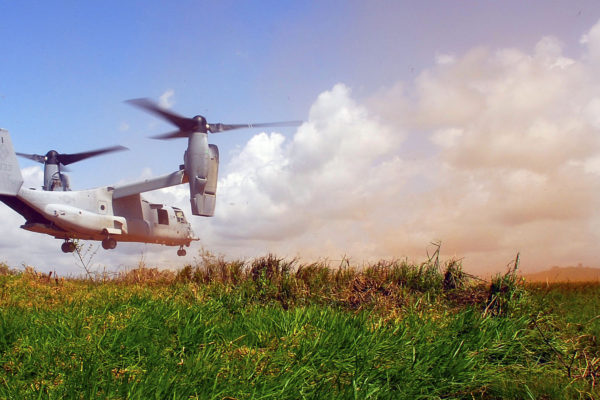 A U.S. Marine Corps MV-22, known as an Osprey, lands near Buchanan, Liberia