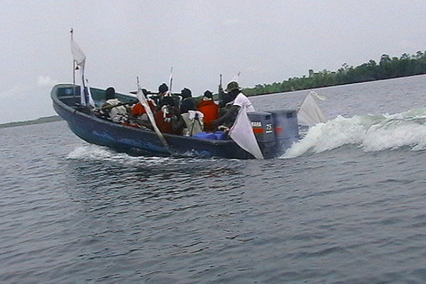 Fighters in a boat