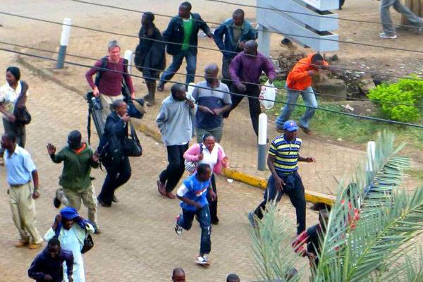 Crowd fleeing Westgate Mall. Photo: Anne Knight