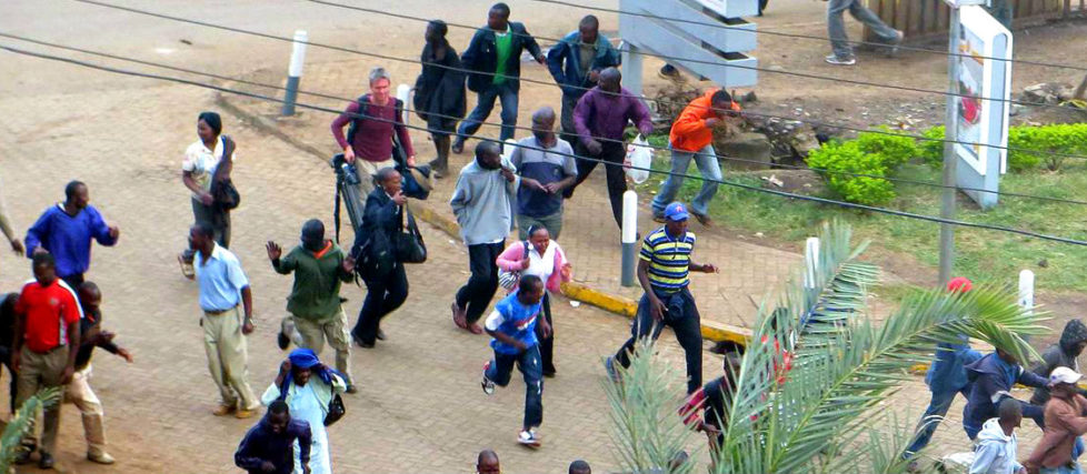 Crowd fleeing Westgate Mall. Photo: Anne Knight
