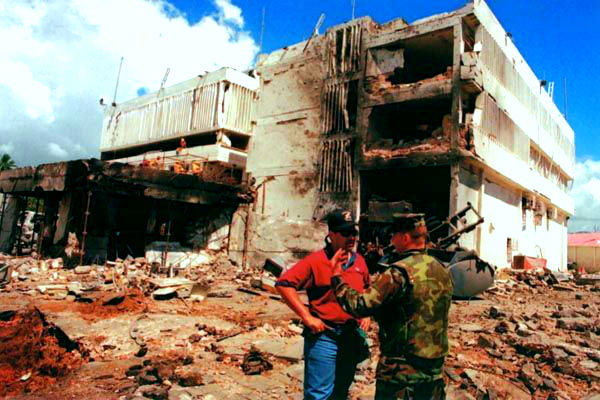 The U.S. Embassy in Dar es Salaam Tanzania after the August 7, 1998, al-Qaida suicide bombing