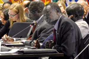 South Sudan's Ambassador addresses the panel at the Africa Center's round table discussion, South Sudan: Charting a Path to Stability