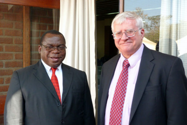 Major General Rodrick Chimowa, Malawi Community Chapter President (left) and Thomas Dempsey, Assistant Professor and Academic Chair for Security Studies