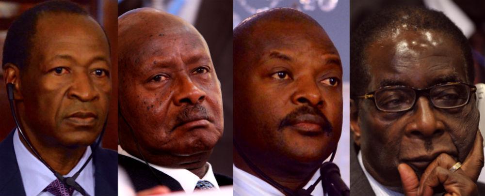 L to R: Blaise Compaoré, Yoweri Museveni, Pierre Nkurunziza, and Robert Mugabe.
