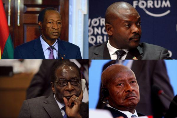 Blaise Compaoré, Pierre Nkurunziza, Robert Mugabe, and Yoweri Museveni