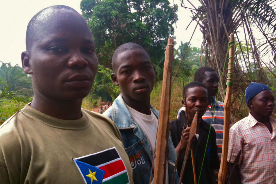 Members of the Arrow Boys militia in Western Equatoria, South Sudan. Photo: Guy D.