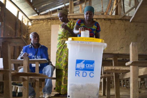 A voting station in the DRC