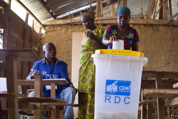 A voting station in the DRC.