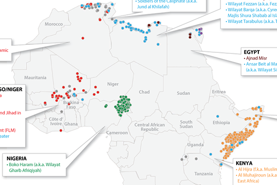 Map of Africa's Active Militant Islamist Groups as of November 2016