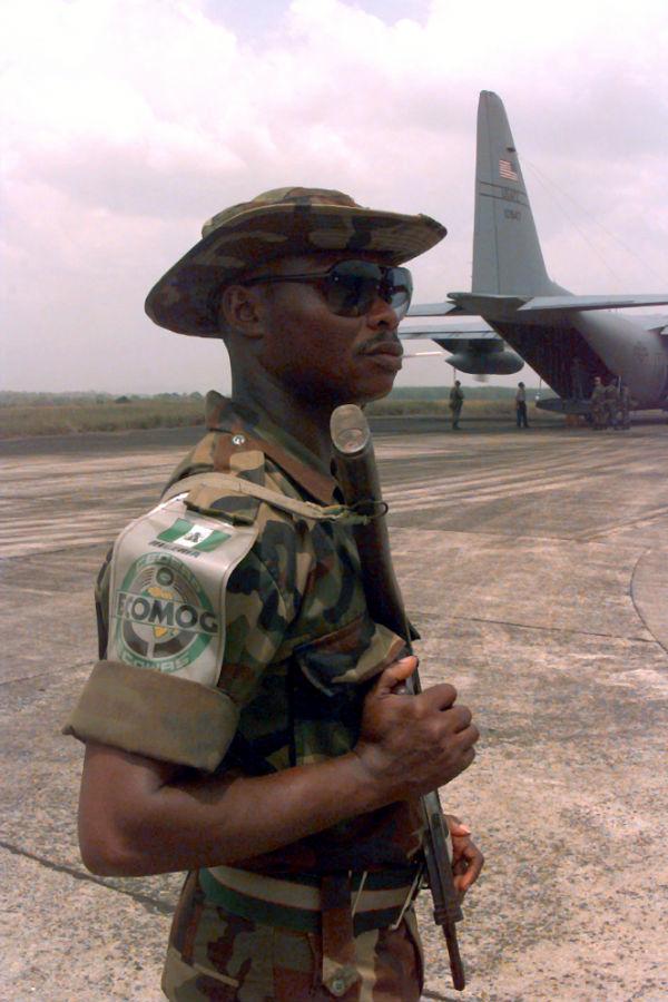 A Nigerian ECOMOG soldier in Liberia