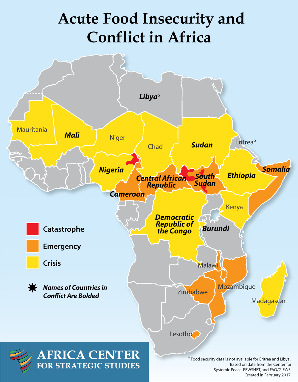 Nineteen African countries are facing acute levels of food insecurity. Ten of those countries are experiencing internal conflict.