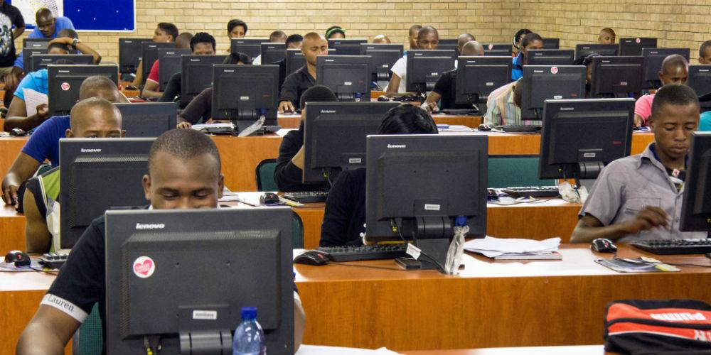 an African internet cafe