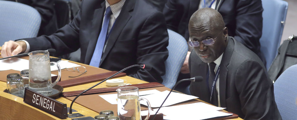 Fodé Seck (centre), Permanent Representative of the Republic of Senegal to the UN, addresses the Security Council. The Security Council unanimously adopted resolution 2337 (2017), urging all Gambian parties and stakeholders to respect the will of the people and the outcome of the 1 December 2016 election which recognized Adama Barrow as President-elect of The Gambia. The Council also endorsed the decisions of the Economic Community of West African States (ECOWAS) and the African Union to recognize Mr. Barrow as President of the Gambia.