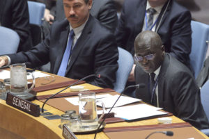 Senegal's representative to UN addresses the Security Council. The Security Council unanimously adopted resolution 2337 (2017), urging all Gambian parties and stakeholders to respect the will of the people and the outcome of the 1 December 2016 election which recognized Adama Barrow as President-elect of The Gambia. The Council also endorsed the decisions of the Economic Community of West African States (ECOWAS) and the African Union to recognize Mr. Barrow as President of the Gambia.