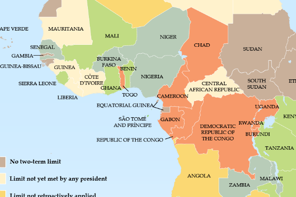 Constitutional Term Limits for African Leaders map