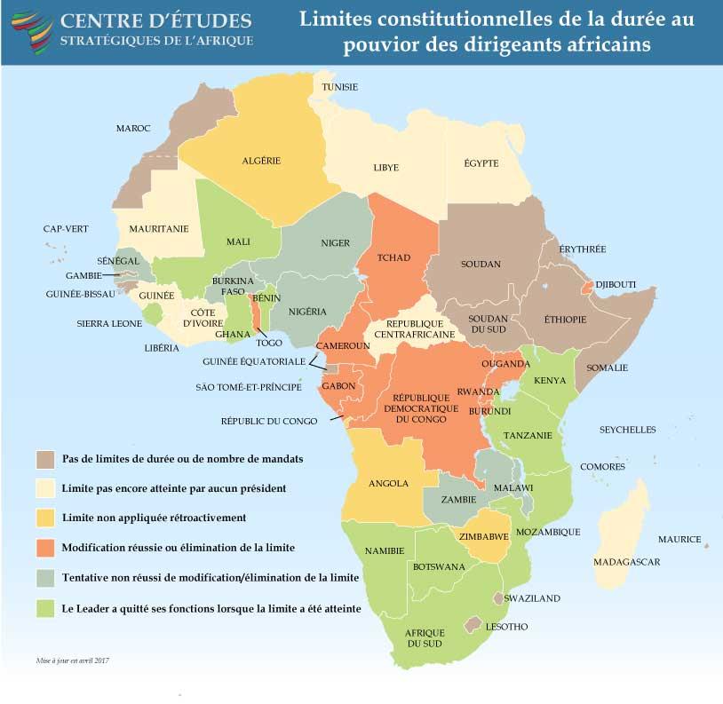 Limites constitutionnelles de la durée au pouvior des dirigeants africains