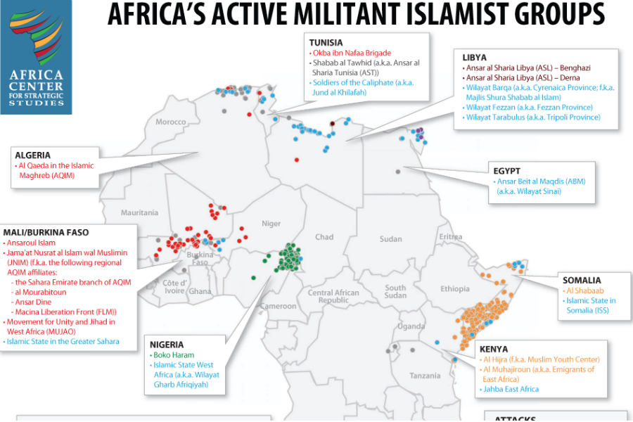 Map of africas militant islamic groups africa center for map of africas militant islamic groups africa center for strategic studies ccuart Image collections