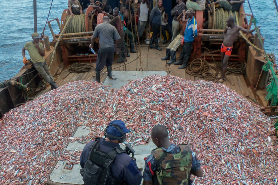 A fishing vessel suspected of illegal fishing is inspected during the Africa Maritime Law Enforcement Partnership.