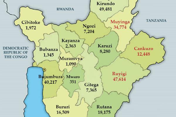 Origin of Burundi Refugees in Rwanda and Tanzania