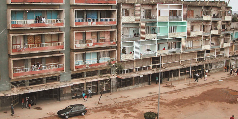 Buildings at Rua Cinco, Huambo, Angola.
