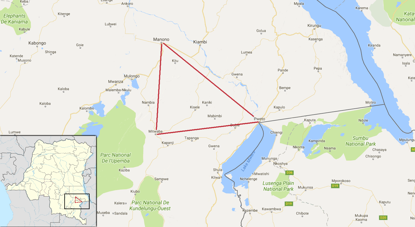 "The ""Triangle of Death"" in Katanga province, DRC. Map data © 2017 Google."