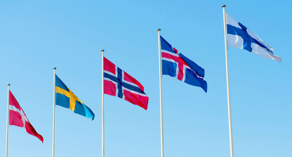 The Nordic flags: (from left) Denmark, Sweden, Norway, Iceland, Finland. Photo: Johannes Jansson.