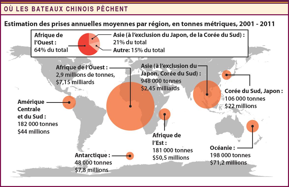 Où les bateaux chinois pêchent