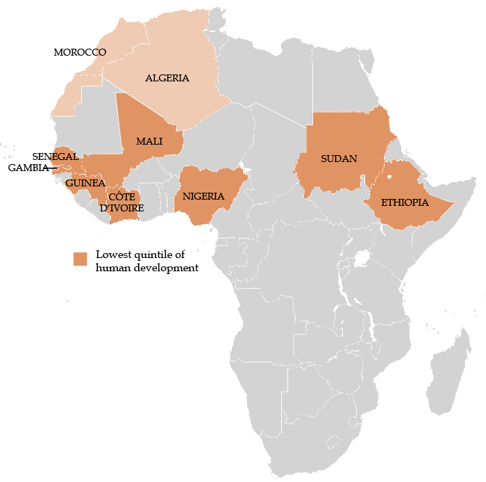 Map: Africa's Economic Migrants - Top 10 Countries of Origin