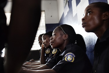 Women Police officers working in the Salem Police Station in Monrovia Liberia.