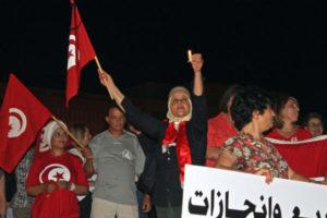 Tunisians protesting against terrorism