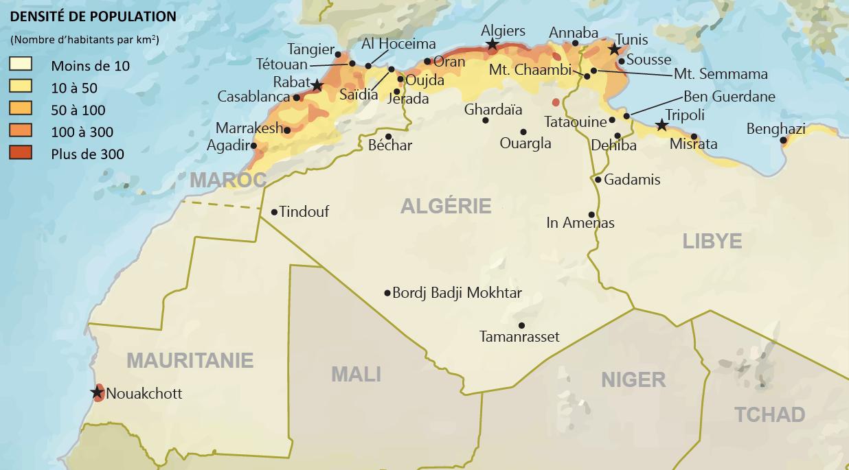 Les pays du Maghreb - densite de population