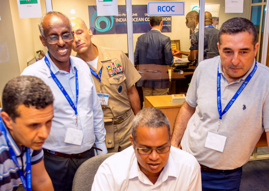 Participants of a recent maritime security seminar in the Seychelles visit the Regional Center for Operations Coordination (RCOC).