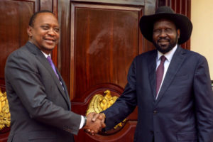 Presidents Kenyatta of Kenya and Kiir of South Sudan