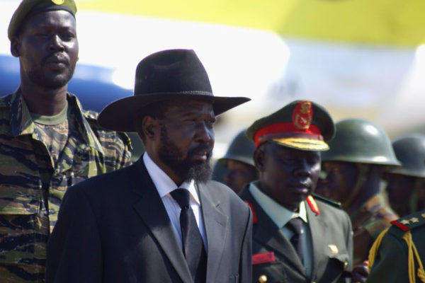 Salva Kiir at airport