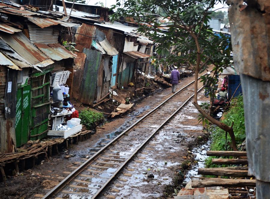 Kibera Slum Nairobi Kenya along railroad tracks
