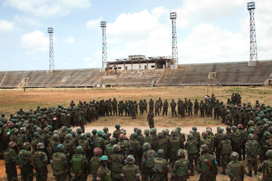 The 7th Battallion of the Uganda People's Defence Force, in the Somali National Stadium, Mogadishu. (Photo: AMISOM)