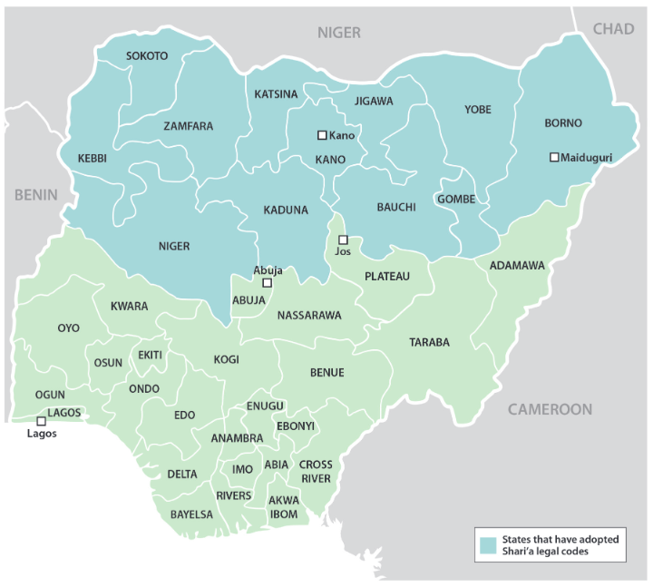 Nigerian states that have adopted Shari'a legal codes