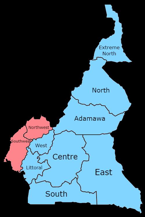 Les deux langues officielles de Cameroun: français (bleu) et anglais (rouge).