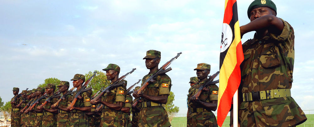 Soldiers of the Uganda People's Defence Forces stand in formation