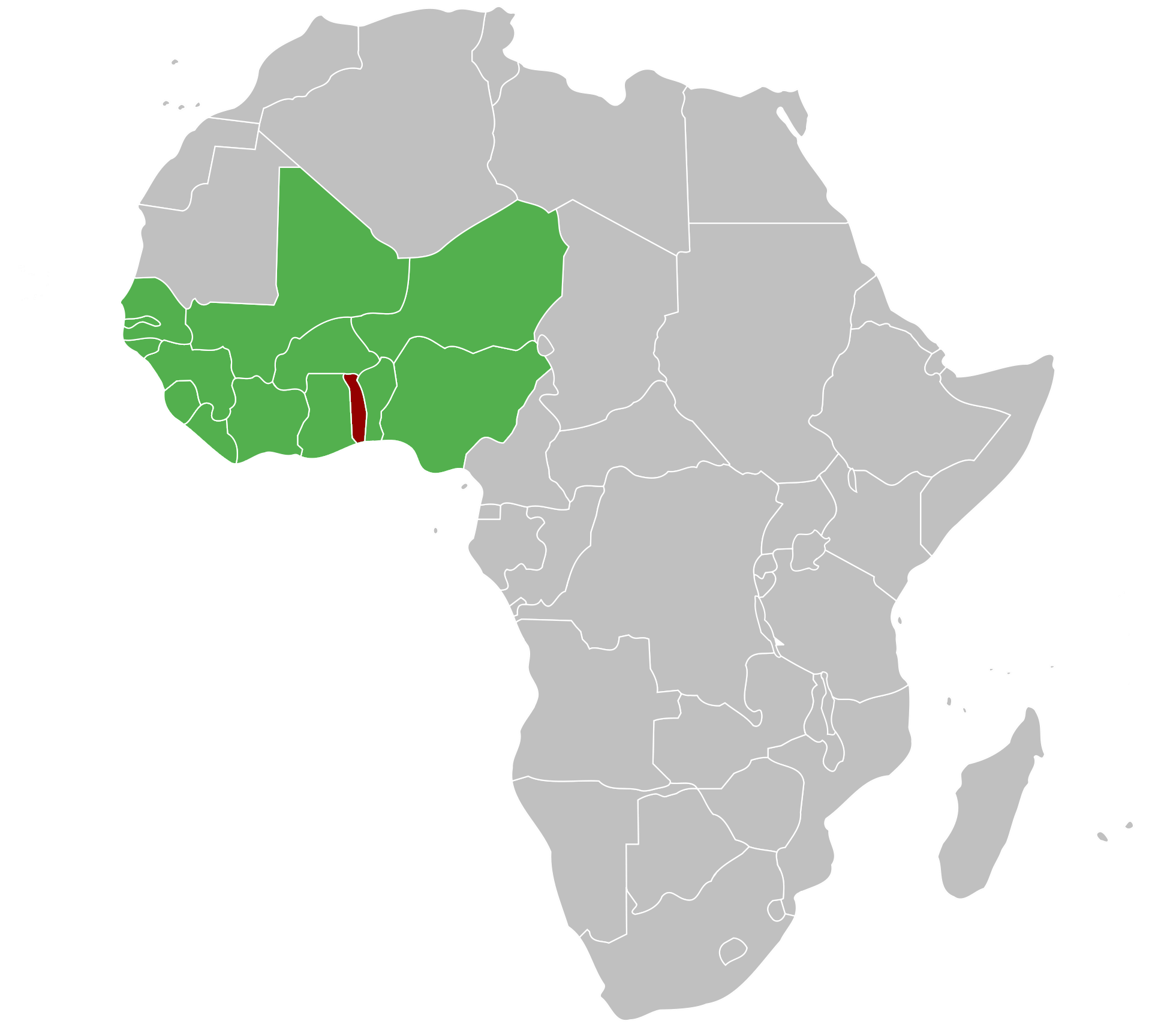 ECOWAS countries (green) with Togo (red).
