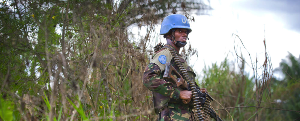 A soldier patrols during a joint MONUSCO-FARDC operation against the ADF in Beni
