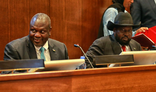 Riek Machar and Salva Kiir. (Photo: UNMISS)